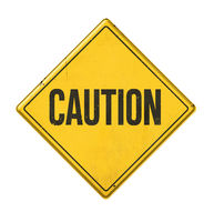 Yellow sign on a white background - Caution