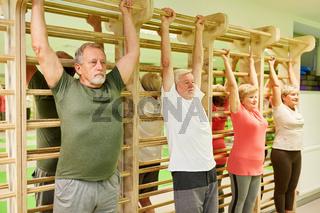 Physiotherapie Übung an der Sprossenwand