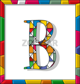 Letter B in stained glass