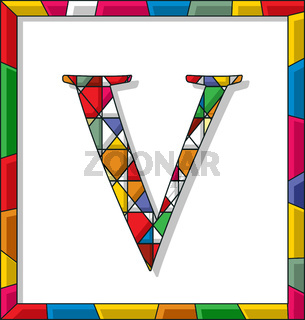 Letter V in stained glass