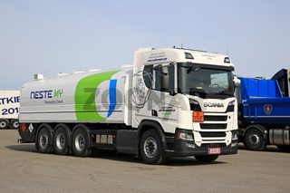 New Scania R520 Fuel Tanker on a Yard