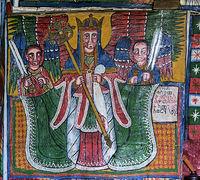 Erzengel Michael, Felsenkirche Mikael Mellehayzengi, Tigray, Ãthiopien