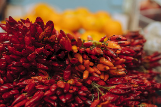 red chili peppers, closeup view
