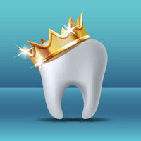Realistic white Tooth in golden crown. Tooth care dental medical stomatology vector icon.