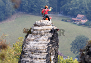 Waghalsige Kletterer, 'Sächsische Schweiz', Deutschland, September