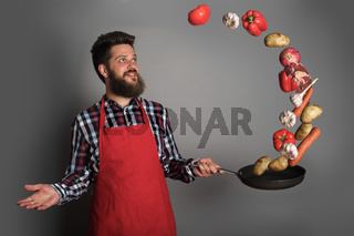 Cooking man concept