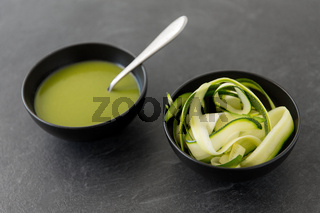 peeled or sliced zucchini and cream soup in bowl
