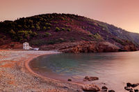 The sunset at the beach Tsoukalia of Alonissos, Greece