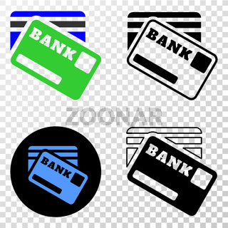 Bank Cards Vector EPS Icon with Contour Version