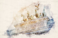 Watercolor Illustration Quadriga