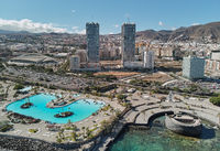 Aerial photography drone point of view from above panorama of modern architecture of Santa Cruz de Tenerife cityscape, major city, capital of the island of Tenerife, Canary Islands, Spain