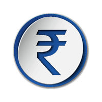 Rupee currency symbol on round sticker with blue backdrop.