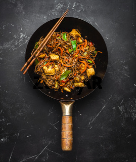 Stir fry noodles with chicken and vegetables