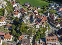 Aerial view of the Tuechersfeld village, a symbol of Franconian Switzerland in Germany