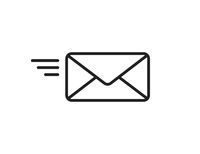 Mail flying icon. Sending mail sign. Isolated element communication.