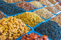 Dried food products sold at the Chorsu Bazaar in Tashkent