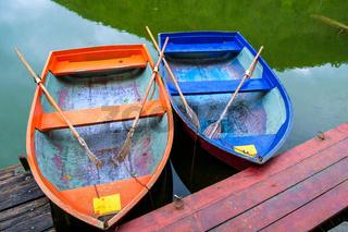 Boats at the lake Hamori in Hungary