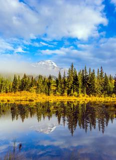 Patricia Lake reflects snowy peak