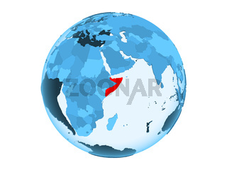 Somalia on blue globe isolated