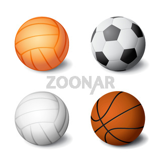 Realistic sports balls set icon isolated on white background, volleyball, soccer, basketball, vector illustration.
