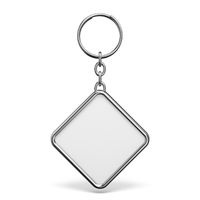 Blank metal trinket with a ring for a key rhombus shape 3D