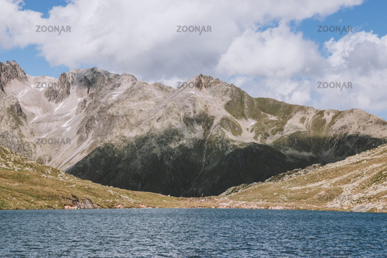 Panorama view of Marjelen lakes, scene in mountains