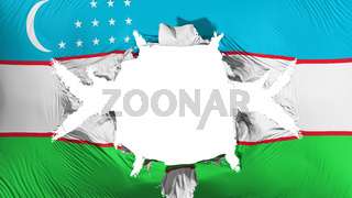 Uzbekistan flag with a big hole