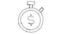 clock and money icon drawn with drawing style on chalkboard, animated footage ideal for compositing and motiongrafics