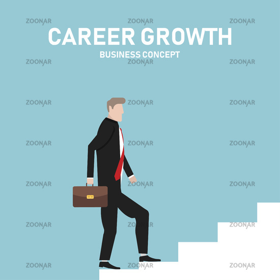 Businessman climbing the career ladder. Career growth. Success. Business concept. Work with progress. Moving up.