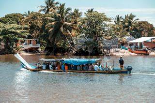 overloaded and crowded taxi boat, Madagascar