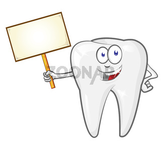 cartoon tooth with signboard, clip art vector illustration