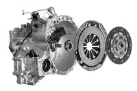 Clutch disc with clutch basket and bearing and gearbox