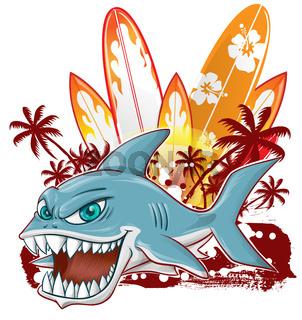 shark character cartoon over surfboard