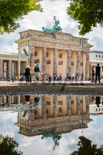 The Brandenburger Tor / Brandenburg Gate reflection in puddle, Berlin