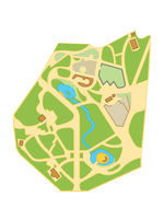Map of The City Gardens. Geographical Location and Navigation tourist urban chart.