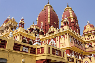 Detail view on Main Building of Shri Laxminarayan Temple, Birla Mandir, Hindu Vishnu Temple in New Delhi, India, Asia.