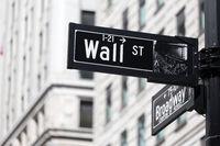 Wall St. street sign in lower Manhattan, New York City.