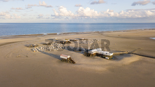 Aerial view of the beach at Sankt Peter Ording, Germany