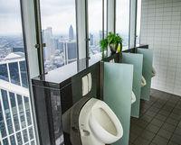 Toilette mit Blick auf die Skyline von Frankfurt