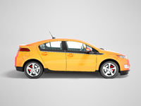 Modern electric car on the left orange 3d rendering on gray background with shadow