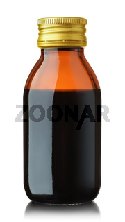 Front view medical glass bottle