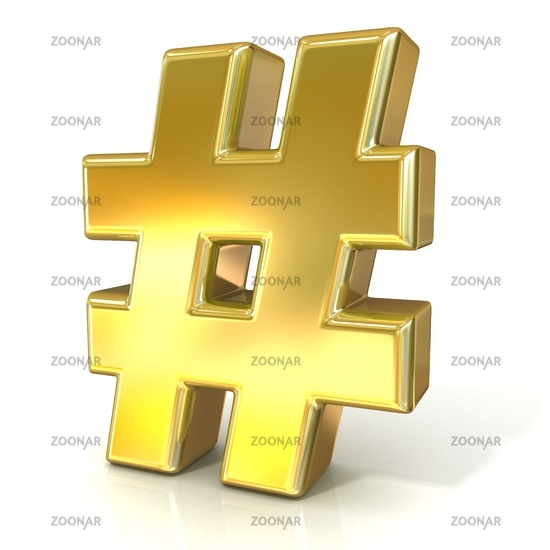 Hashtag, number mark 3D golden sign