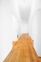 new flat corridor, empty hallway woith wooden floor