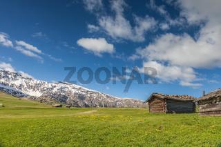 Alpine meadows and mountain huts on the Alpe di Siusi