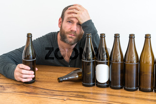 alcoholic and empty beer bottles