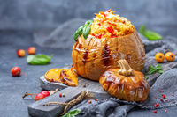 Delicious pumpkin baked with couscous.