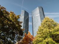 Deutsche Bank Skyscraper low angle on a sunny day with trees in forefront, frankfurt, hessen, germany