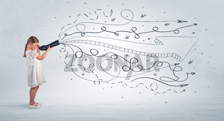Kid looking in spyglass with doodles around