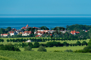 View from Bastorf to the town Kühlungsborn and the baltic sea