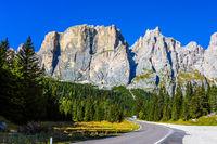 The road passes in Dolomite Alps